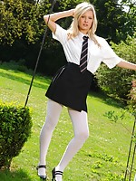 Beautiful college girl feels too hot and slips out of her uniform.